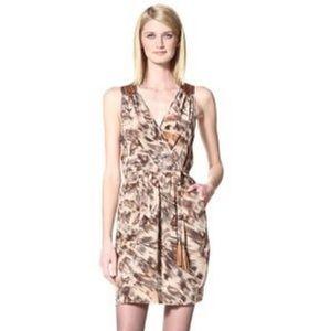 Akiko Leather Trim Silk Cheetah Dress XS M3002